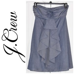 J. Crew Strapless Dress Size 4 Grey Cotton
